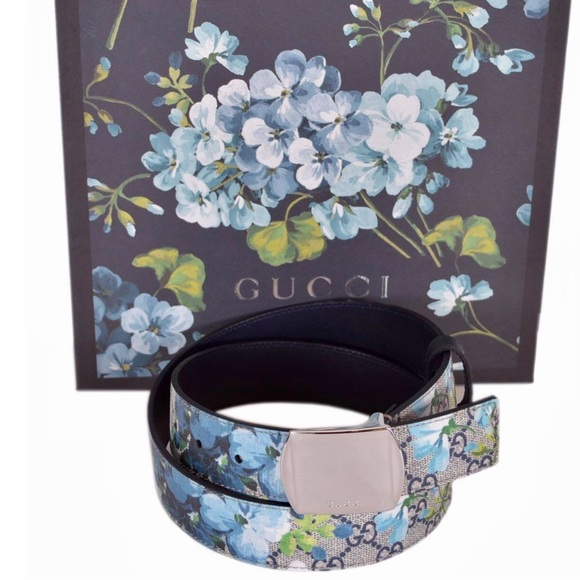 b9d60122f25 SoldOut GUCCI GG Canvas Blue Blooms Buckle Belt XL